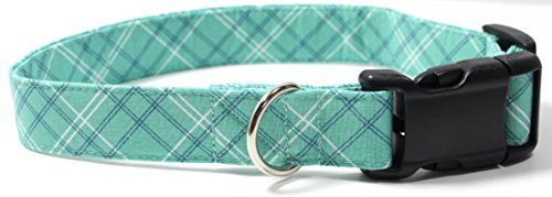 Seafoam Plaid, Teal, Green, Blue Tartan Designer Dog Collar, Adjustable Handmade Fabric Collars (M) ()