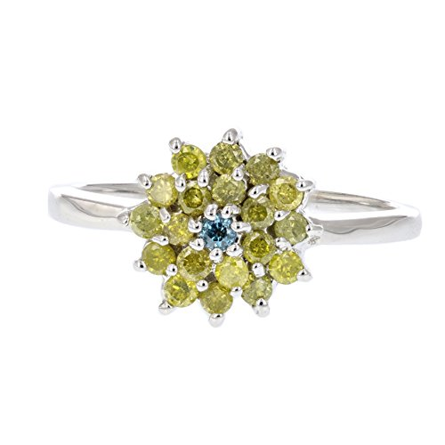 0.50 CT Yellow and Blue Diamond Cluster Ring 10K White Gold Size 7