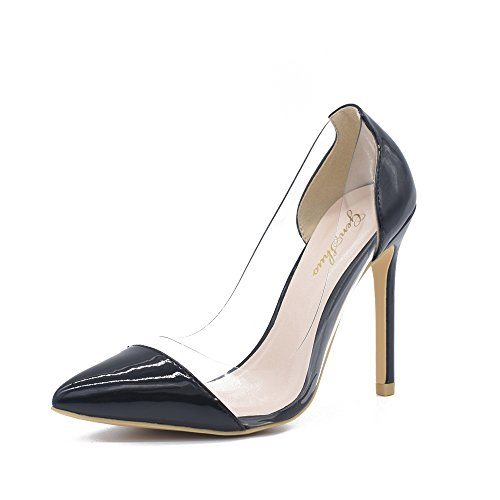 GENSHUO High Heel Clear Pointed Cap Toe Pumps – Comfortable Slip On Stiletto High Heels – Transparent D'orsay Wedding Elegant Dress Formal Shoes (Clear Heel Pumps)