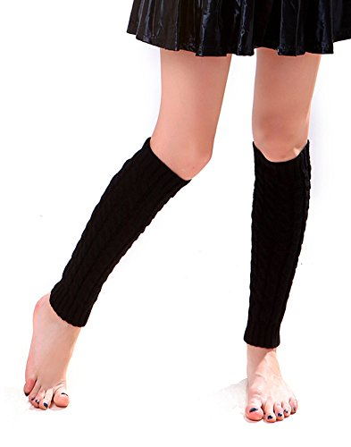 Super Z Outlet Women's Cable Knit Leg Warmers Knitted Crochet Long Socks, Black OSFM