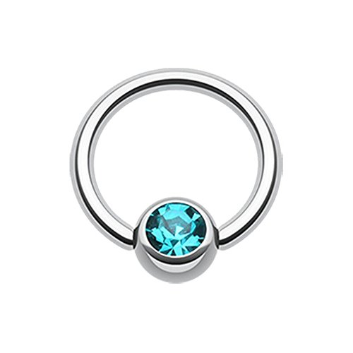 Inspiration Dezigns Teal Gem Ball Steel Captive Bead Ring (16G, L: 3/8)
