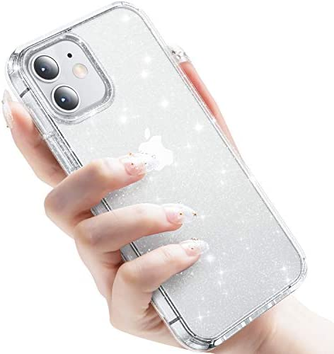 "CASEKOO Crystal Glitter Designed for iPhone 12 Case, Designed for iPhone 12 Pro Case [Never Yellow] Clear & Shockproof Protective Sparkle Phone Cover Thin Slim Case (6.1"") 2020- Twinkle Stardust"