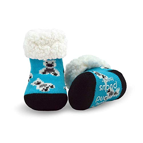 Pudus polar bear blue toddler (1-3 years) cozy winter classic slipper socks with grippers