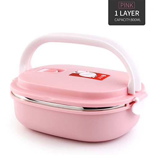 Portable Thermal Lunch Box For Kids School Picnic Food Storage Container Japanese Stainless Steel Bento Lunch Box Pink 1 - Metal Box Lunch Transformer