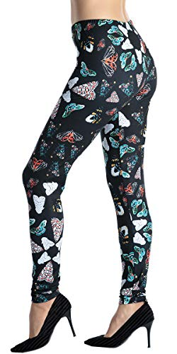 Butterfly Stretch Capris - Ndoobiy Women's Printed Leggings Full-Length Regular Size Workout Leggings Pants Soft Capri Legging L1 (Butterfly OS)