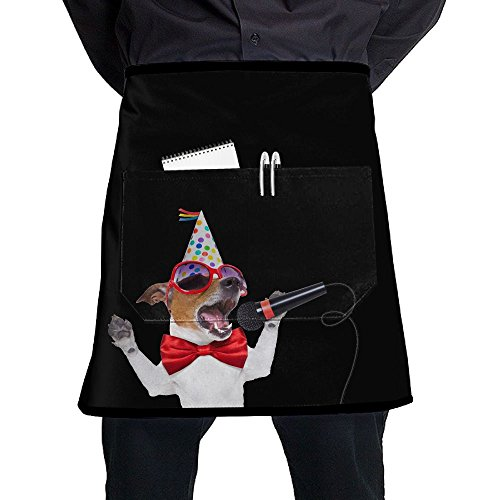 Singing Dog Karaoke Unisex Fashion Pocket Waist Apron Restaurant Waitress Waiter Half Bistro Aprons - Pocket Karaoke