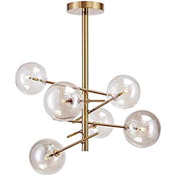 Yoka Lighting Modern Metal Pendant Lighting Hanging L& Ceiling Chandelier With 6 Lights Gold Finish Fixture  sc 1 st  Amazon.com & YOKA Modern Metal Pendant Lighting Hanging Lamp Ceiling Chandelier ... azcodes.com