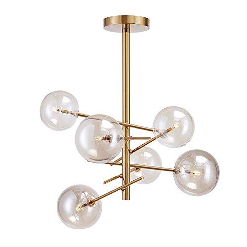 Yoka Lighting Modern Metal Pendant Lighting Hanging Lamp Ceiling Chandelier With 6 Lights Gold Finish Fixture Flush ()