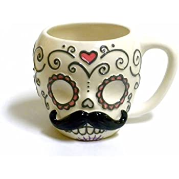 Sugar Skull With Mustache Ceramic Coffee Mug