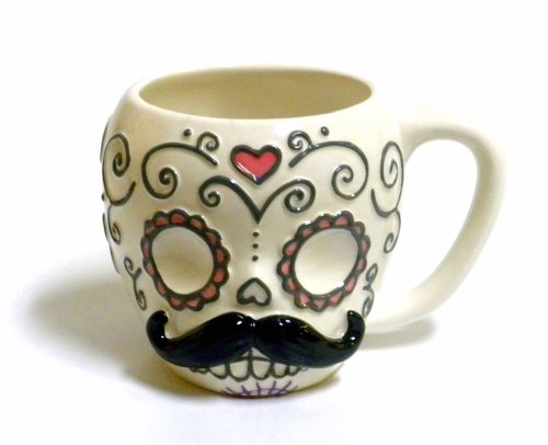 Sugar Skull with Mustache Ceramic Coffee