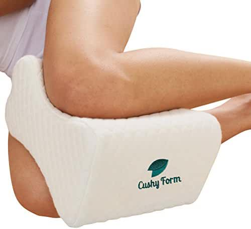 Sciatic Nerve Pain Relief Knee Pillow - Best for Hip, Leg, Knee, Back and Spine Alignment - Memory Foam Wedge Leg Pillow with Washable Cover + Free Storage Bag