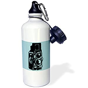 "3dRose wb_20745_1 ""Picture of a Vintage Twin Lens reflex TLR camera on cyan"" Sports Water Bottle, 21 oz, White"