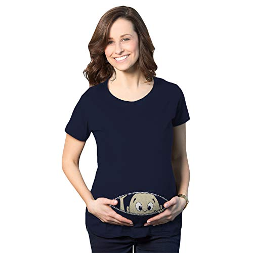 Maternity Baby Peeking T Shirt Funny Pregnancy Tee For Expecting Mothers (Navy) - M -