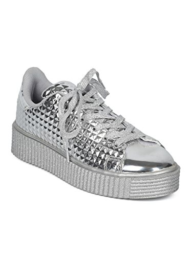 Women Embossed Leatherette Pyramid Stud Lace Up Creeper Sneaker HC98 - Silver Metallic (Size: 10)