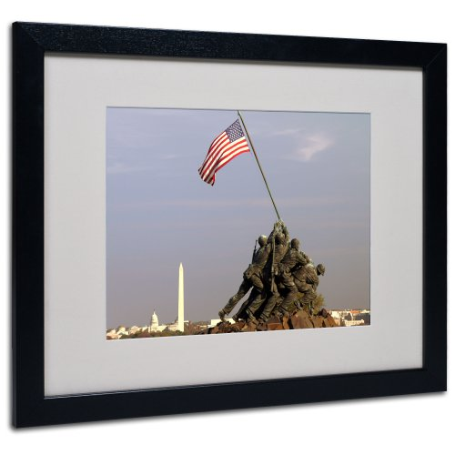 Marine Corps Memorial Canvas Wall Art by CATeyes, Black Frame, 16 by - Marines Flag Iwo Jima