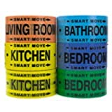 Moving Supplies - 2 Room Labeling Tape-tape for Your Bedroom, Living Room, Bathroom and Kitchen! Organize While Packing!
