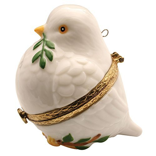 Porcelain Christmas Tree Hinged Ornament Box - Peace Dove