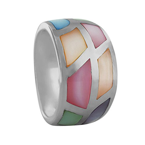Band Tapered Ring - Sterling Silver Multi Color Mother of Pearl Tapered Band Ring Size 9.5