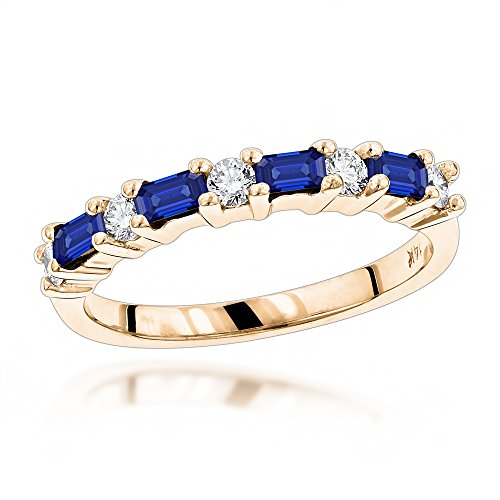 Luxurman Unique 14K Diamond and Sapphire Ring For Women (Yellow Gold Size 4.5)