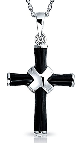 Religious Onyx Black Cross Pendant Necklace For Women For Teen 925 Sterling Silver