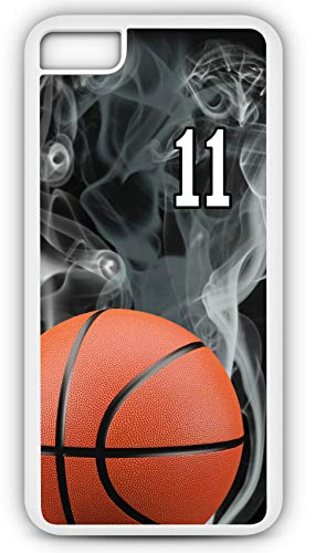 (iPhone 8 Case Basketball BK015Z Choice of Any Personalized Name or Number Tough Phone Case by TYD Designs in White Plastic and Black Rubber with Team Jersey Number 11)