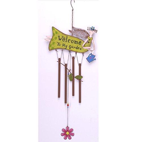 """ES Essentials Fairy Iron Flower Wind Chime """"welcome to my garden"""""""