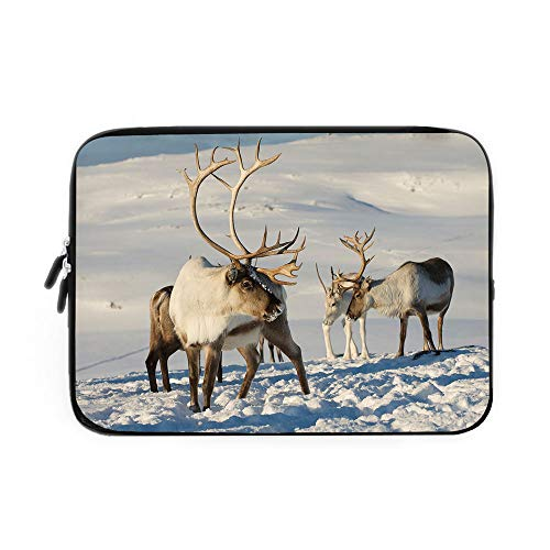 (Winter Laptop Sleeve Bag,Neoprene Sleeve Case/Reindeers in Natural Environment Tromso Northern Norway Caribou Antler Wildlife Decorative/for Apple MacBook Air Samsung Google Acer HP DELL Leno)