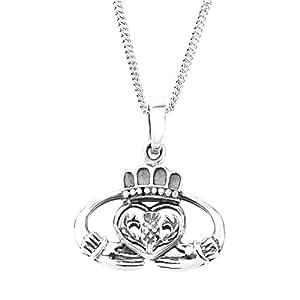 Claddagh Celta colgante de plata - incluye 50,8 cm cadena
