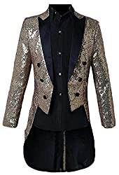 Men Sequin Glitter Tailcoat Jacket