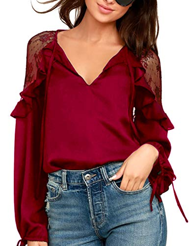 Blooming Jelly Women's Lace Chiffon Tops Tie V Neck Long Sleeve T Shirt Top Drawstring Loose Ruffle Blouse