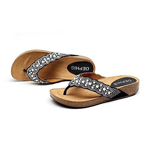 Femeninas Sandalias 5 CN38 Ocasionales del del Color EU38 Corcho Plata Suave La Plano Tamaño UK5 Bottom Negro Cómodo Abajo Beach Verano Shoes Amazing rffp1E