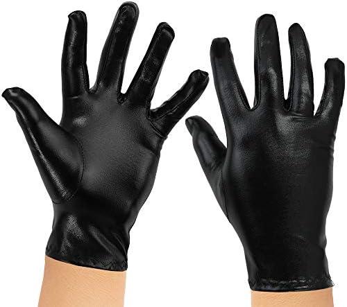 Skeleteen Metallic Black Costume Gloves product image