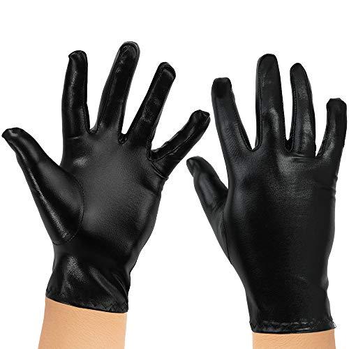 Kids Female Superhero Costumes (Skeleteen Metallic Black Costume Gloves - Shiny Black Superhero Evening Stretch Dress Glove Set for Men, Women and)