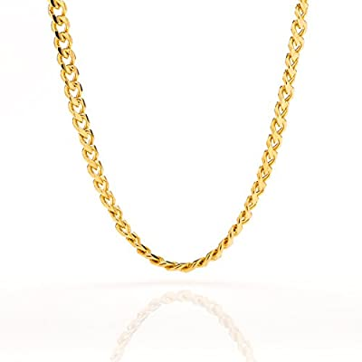 Gold Cuban Link Chain 5MM, Round, 24K Overlay Premium Fashion Jewelry Necklaces, Resists Tarnishing, 16-36 Inches