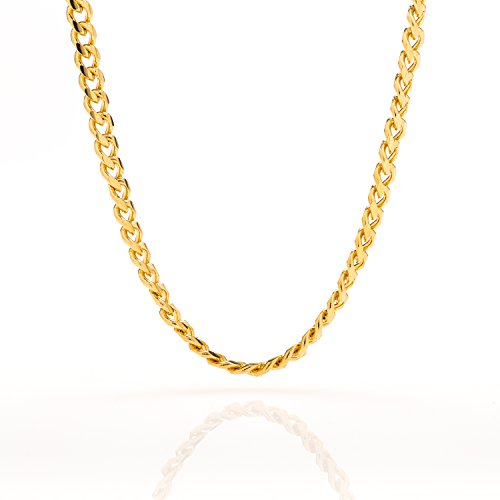 [Best Cuban Link Chain 5MM Round, Fashion Jewelry Necklaces Made of Real 24K Gold on Semi-Precious Metals, Thick Layers Help it Resist Tarnishing, 100% FREE LIFETIME REPLACEMENT GUARANTEE, 24] (Hip Hop Group Costumes)