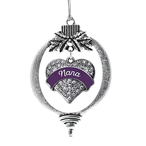 (Inspired Silver - Plum Nana Charm Ornament - Silver Pave Heart Charm Holiday Ornaments with Cubic Zirconia Jewelry)