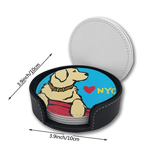Yellow Lab Dog Labrador Retriever NYC Pu Leather Car Coasters Girls Boy Kids Round Holder Gift Beer Table Desk Mug Office Printed of 6 Pc Set Decor Ornament Decorations Home Mats Placemats