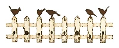 Deco 79 34872 Wooden and Metal Multipurpose Eight Wall Hooks, Beige/Brown