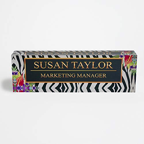 Desk Name Plate Personalized Name & Title, Zebra Pattern Design Printed on Premium Clear Acrylic Glass Block Custom Office Decor Home Accessories Desk Nameplate Unique Customized Appreciation Gifts