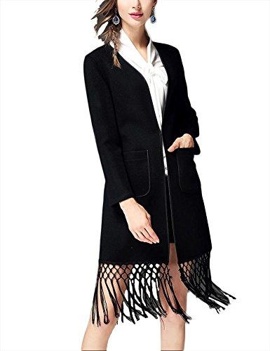 Chaqueta de lana de doble cara de otoño invierno de las mujeres chaqueta Cardigan outwear Outwear ropa de cachemira Black