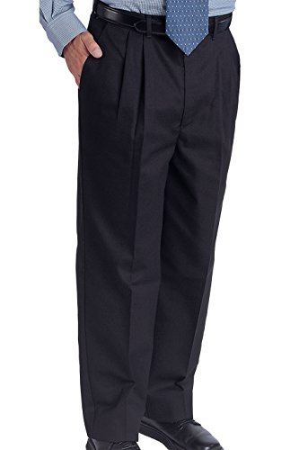 Ed Garments Men's Easy Fit Pleated Front Chino Pant, NAVY, 34 30