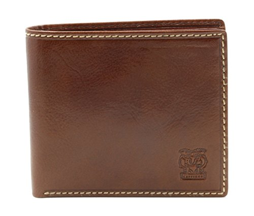 CAPPIANO Mens Leather 2 Traditional Section 8 Credit Card Billfold Wallet - Cognac ()