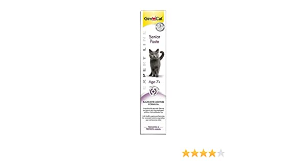GimCat Pasta SENIOR, Aperitivo Malta para Gatos de Fibra de Origen Vegetal Antibolas de Pelo (1 tubo x 50 g): Amazon.es: Productos para mascotas