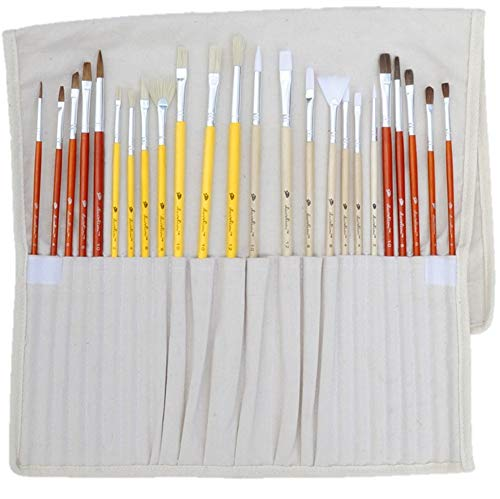 Daveliou Paint Brushes - 24 Brush Set with Oil Acrylic and Watercolor Paintbrushes - Free Holder - 4 Hair 5 Head Shapes