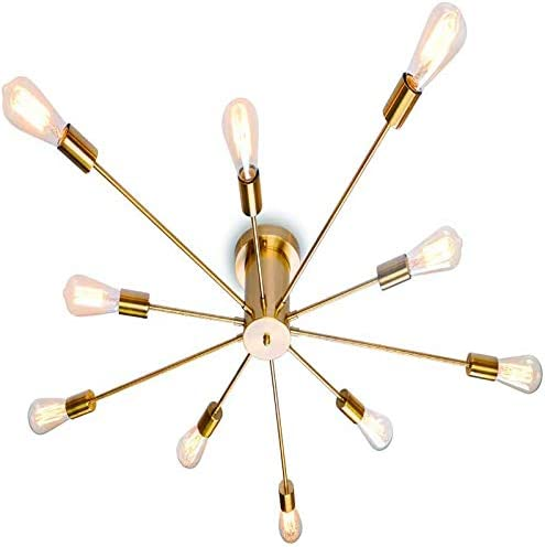 Modern Sputnik Chandelier Black Flush Mount Ceiling Light Rustic Chandelier