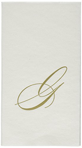 Entertaining with Caspari White Pearl Paper Linen Guest Towels, Monogram Initial G, Pack of 24