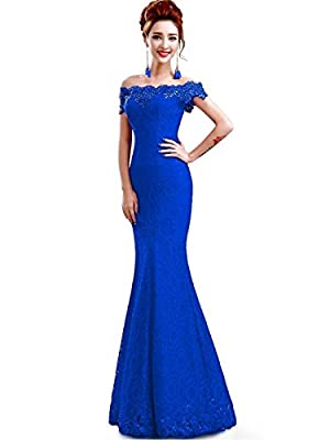 MisShow Sexy Off Shoulder Mermaid Lace Prom Dresses