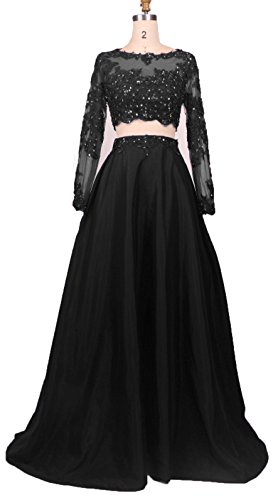 BessDress Two Pieces Lace Bodice Beads Prom Dresses Long Sleeves Evening Party BD184