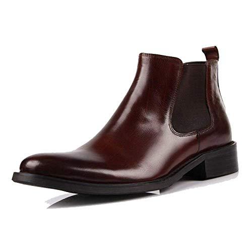NIUMT Scarpe da Uomo in Pelle Stivali da Lavoro Stivali da Lavoro Massaggio Stile Britannico Business Comfort Reddishbrown