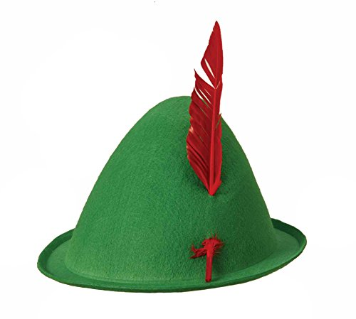 Green Felt Alpine Oktoberfest Bavarian Costume Hat w/ Feather